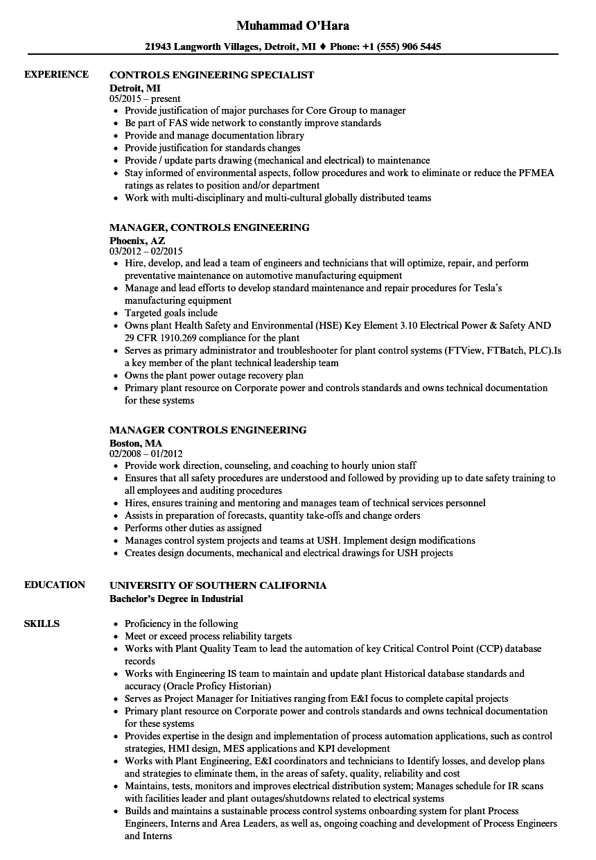 controls engineering resume samples