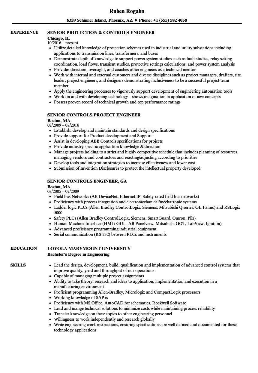 Controls Senior Engineer Resume Samples | Velvet Jobs