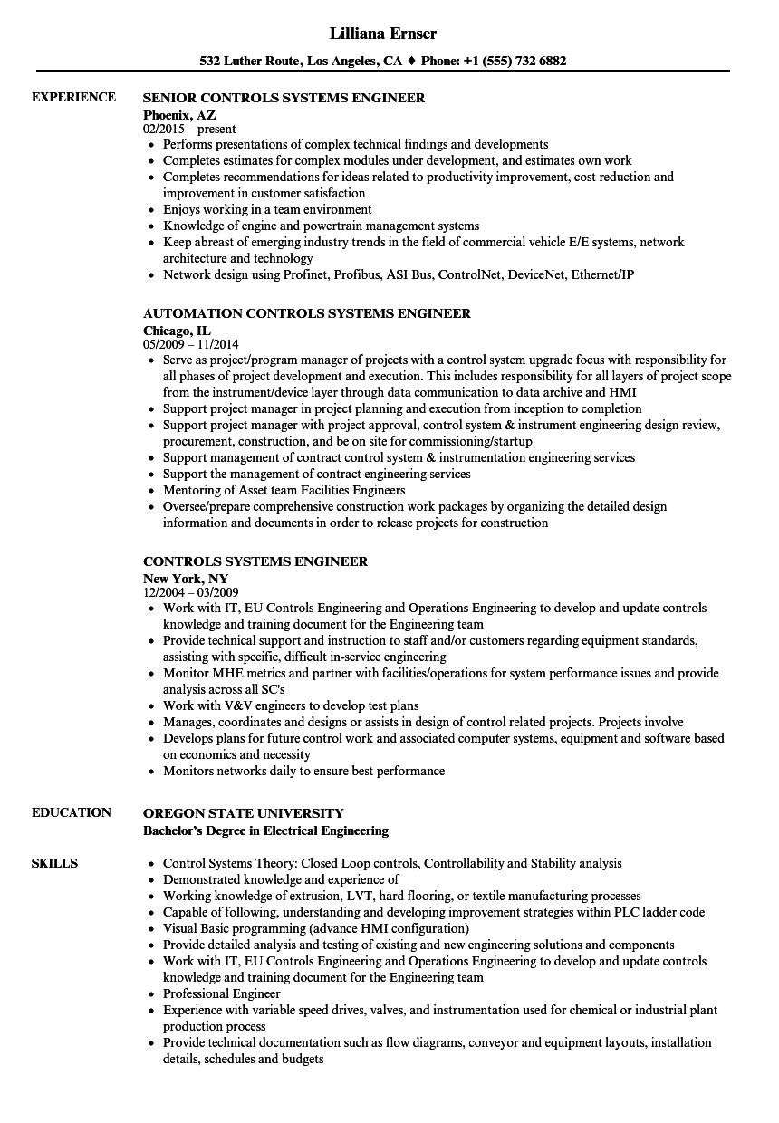 Controls Systems Engineer Resume Samples | Velvet Jobs