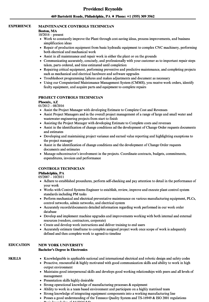 Controls Technician Resume Samples Velvet Jobs
