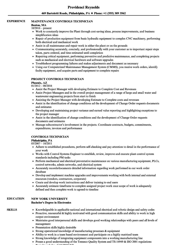 Controls Technician Resume Samples | Velvet Jobs