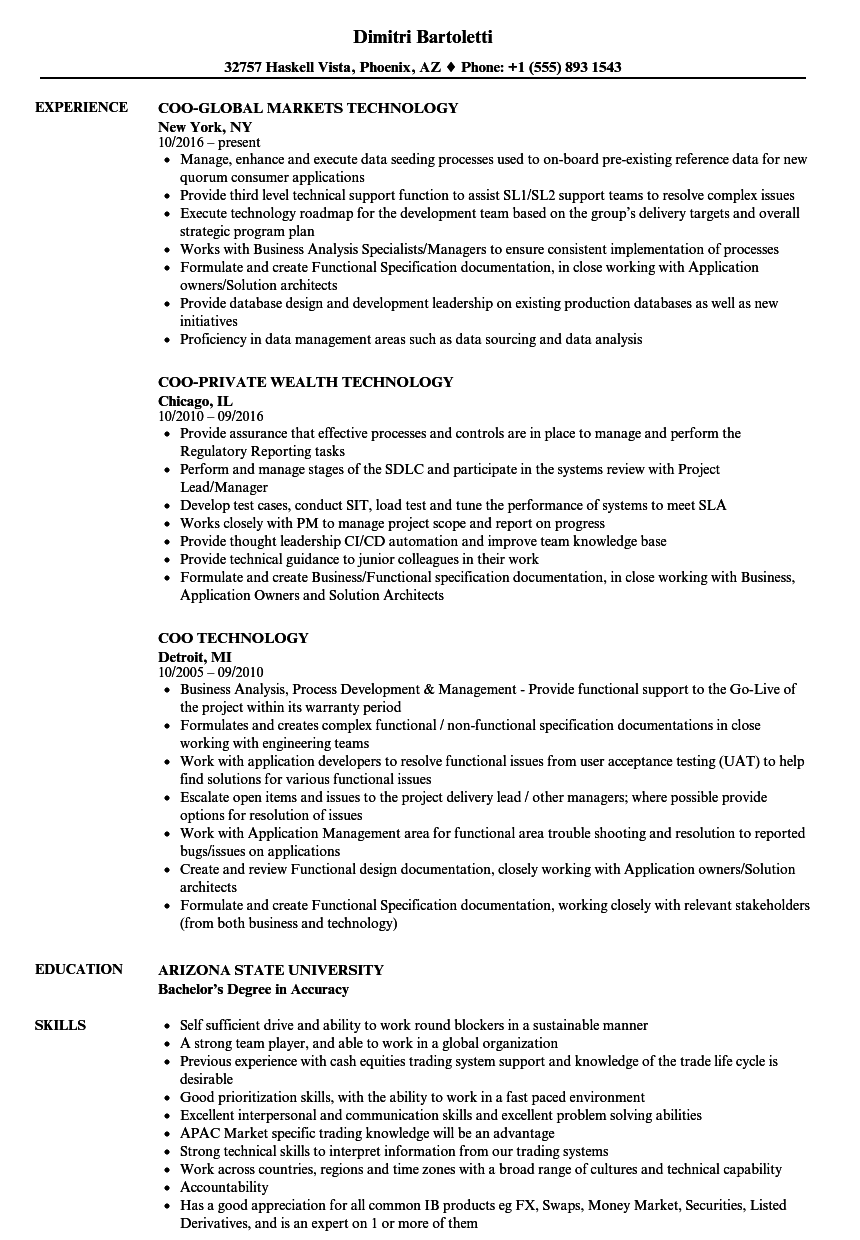 coo technology resume samples
