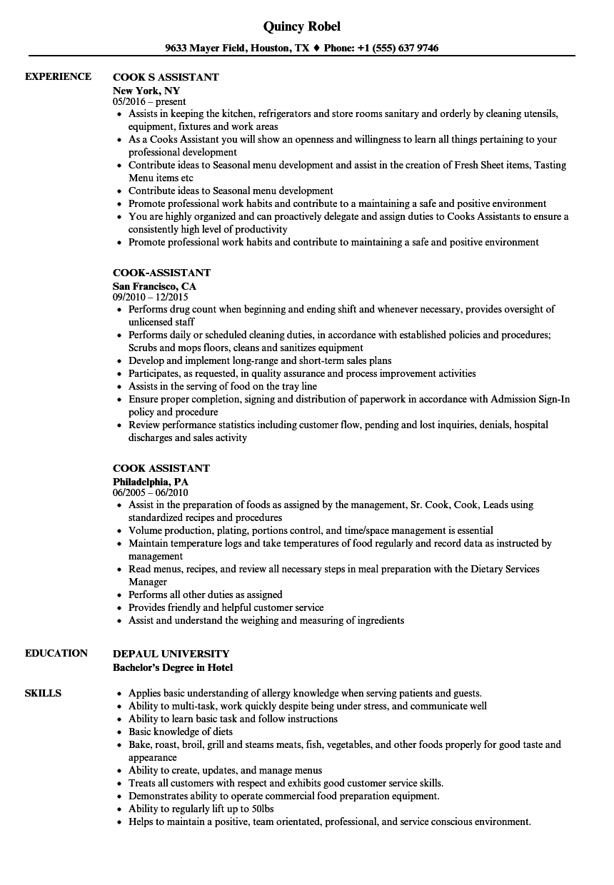 cook assistant resume samples