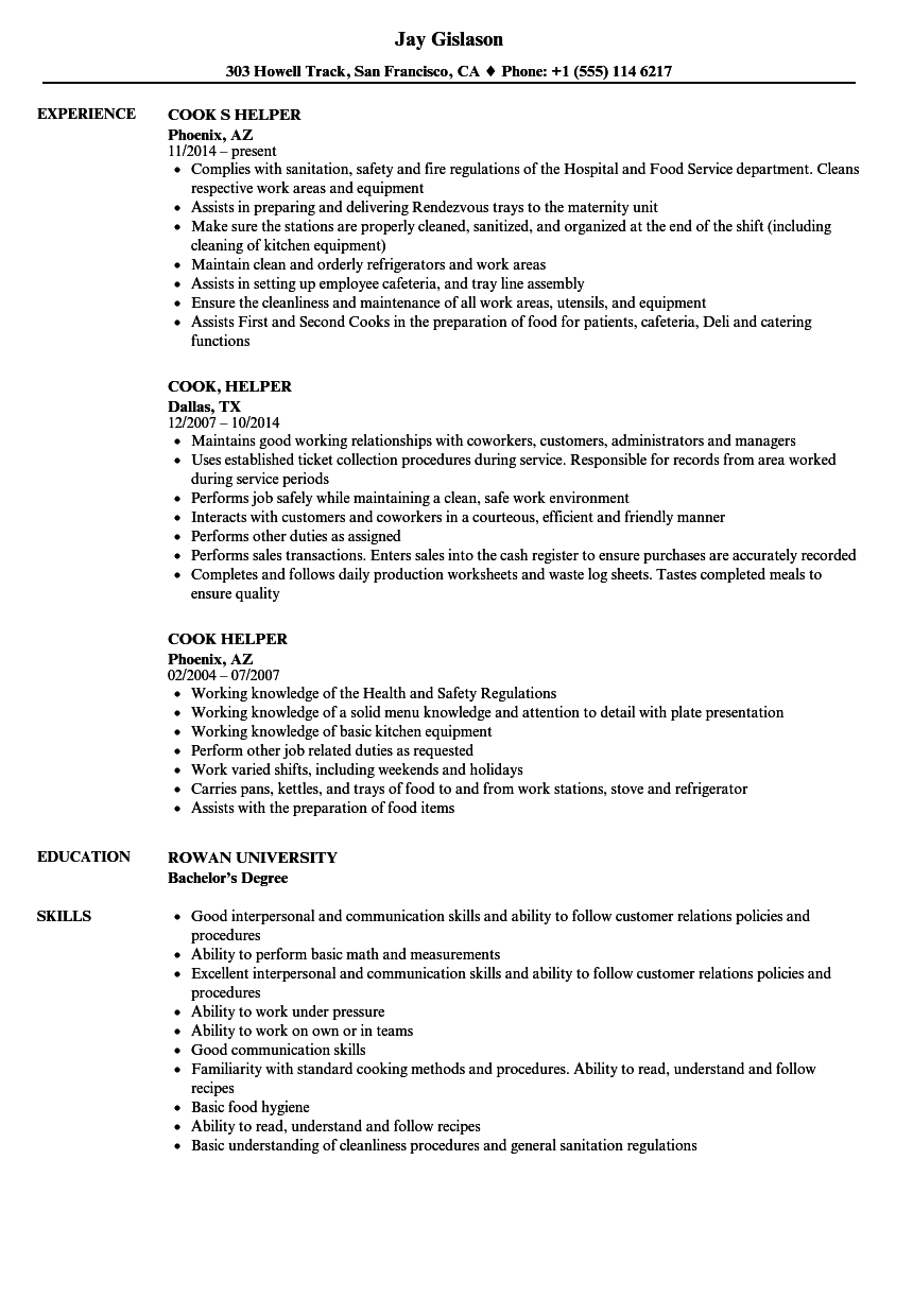 Cook Helper Resume Samples | Velvet Jobs