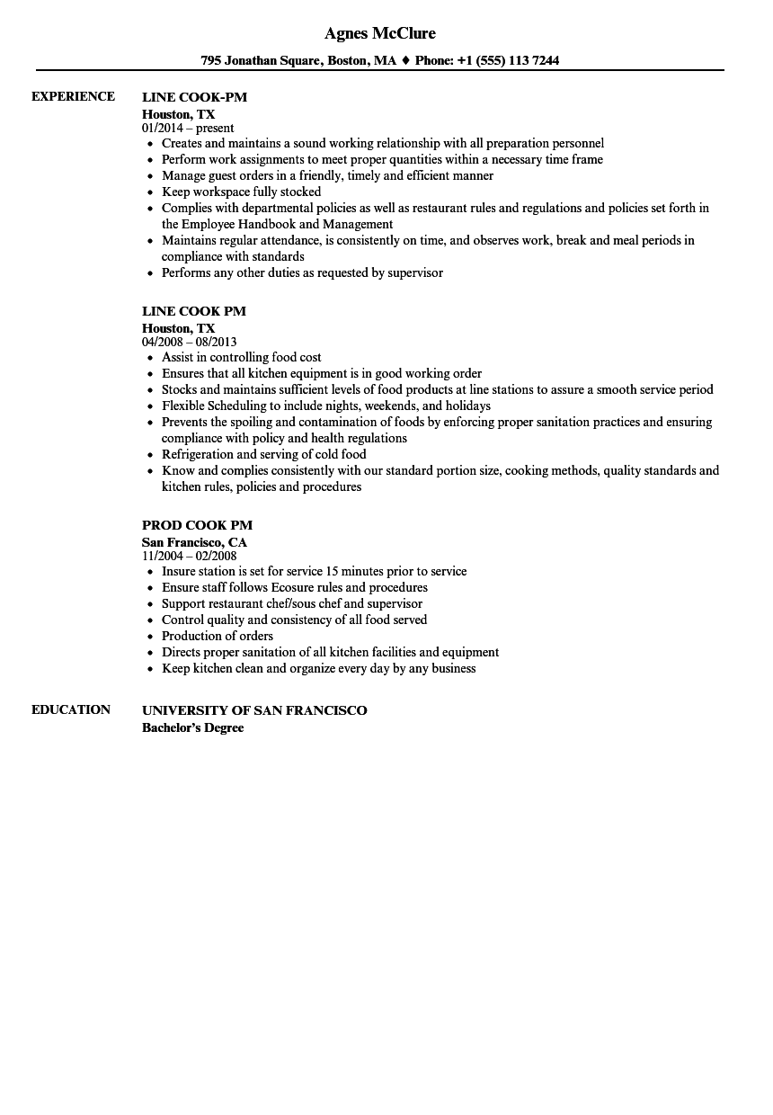 Cook-pm Resume Samples | Velvet Jobs