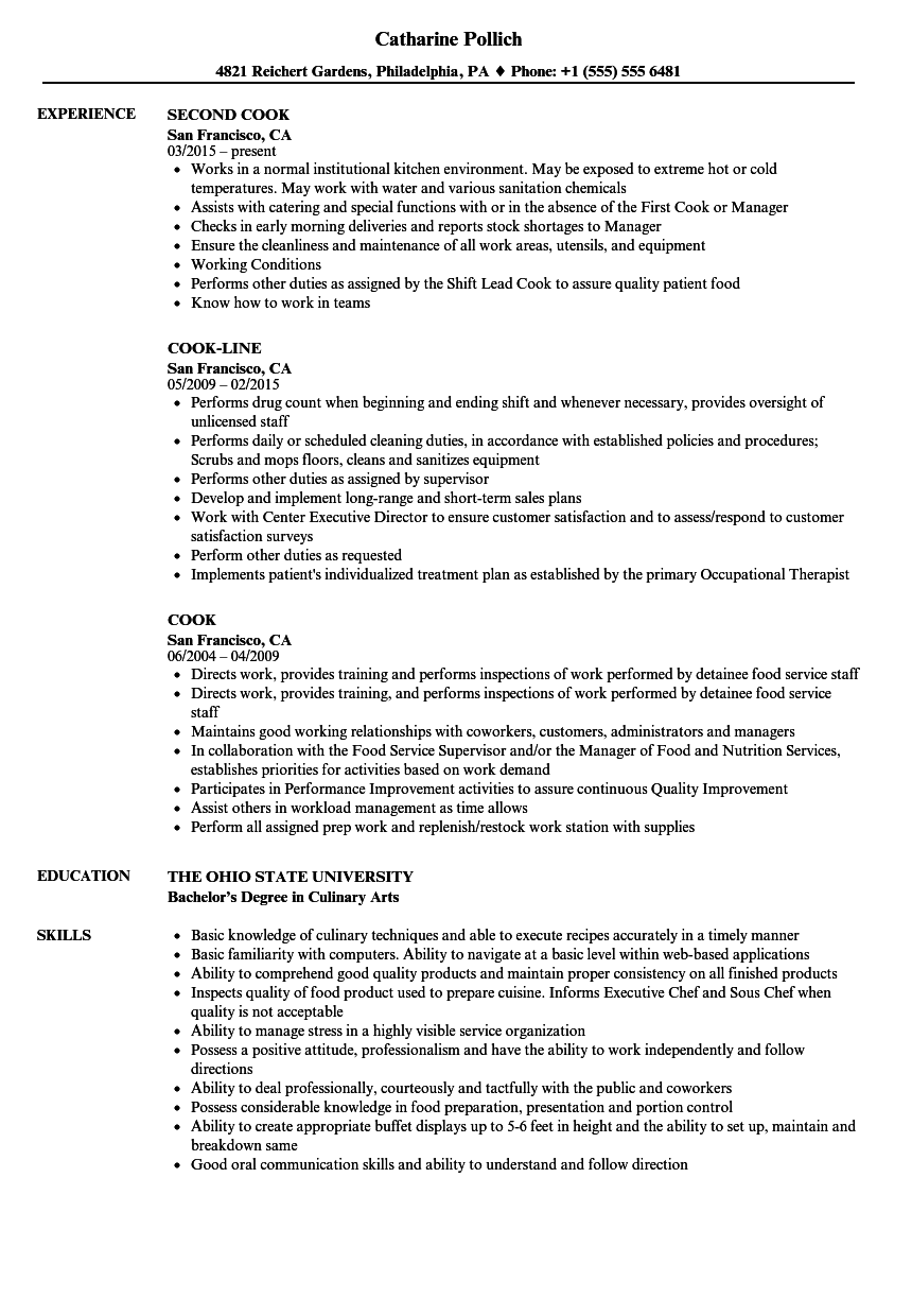 cook resume samples velvet jobs