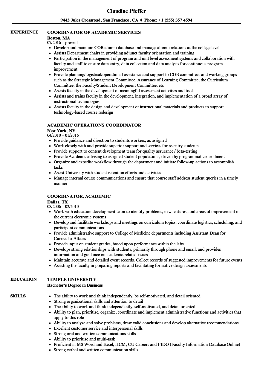 coordinator  academic resume samples