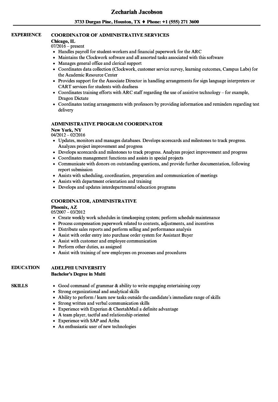 coordinator  administrative resume samples