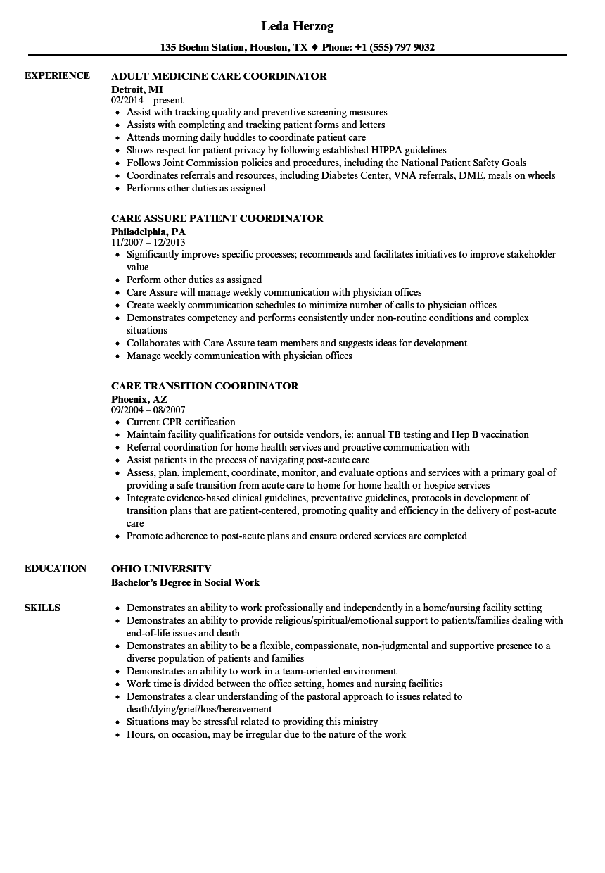coordinator care resume samples
