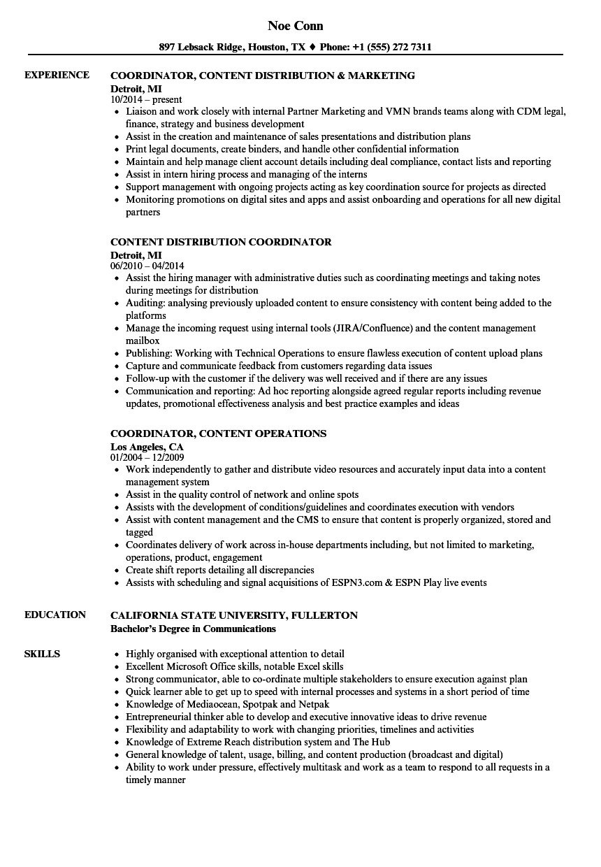 coordinator  content resume samples