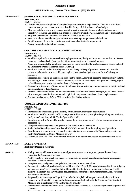 coordinator customer service resume samples