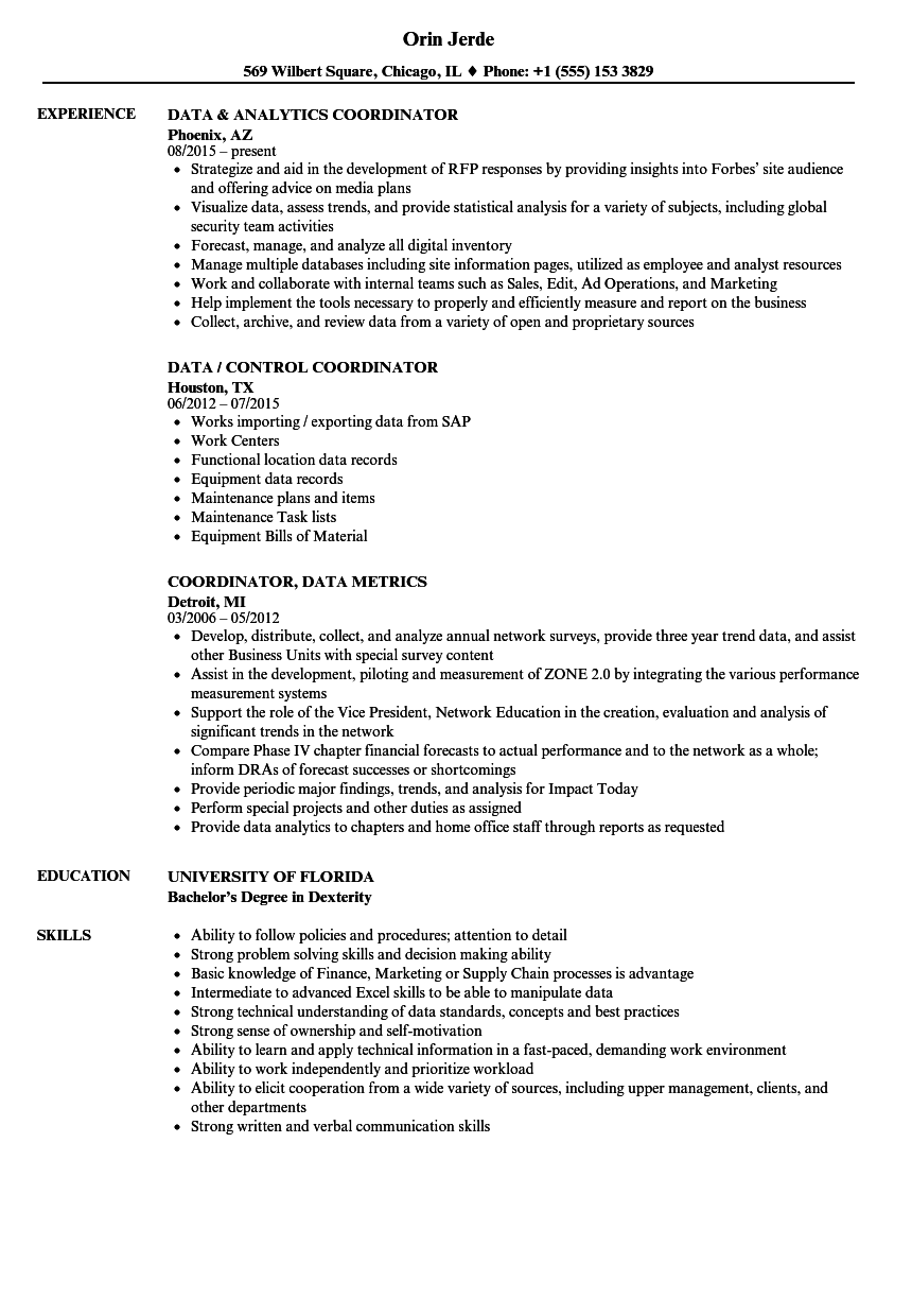 Coordinator, Data Resume Samples | Velvet Jobs