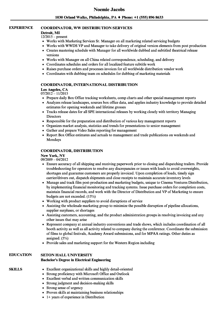 coordinator distribution resume samples velvet jobs