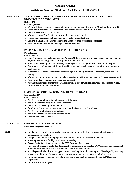 Coordinator Executive Resume Samples   Velvet Jobs