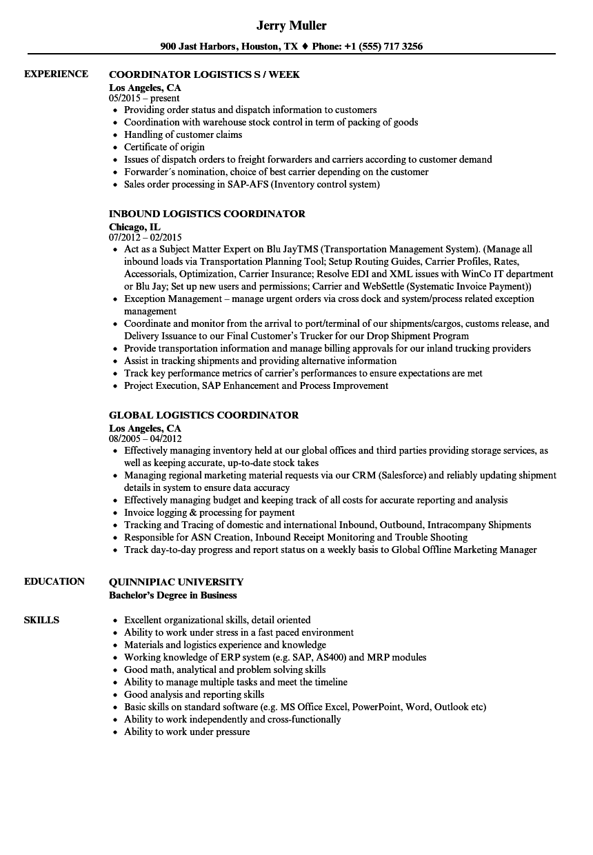 coordinator  logistics resume samples