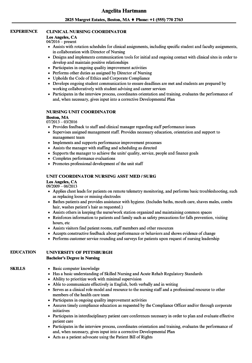 coordinator nursing resume samples