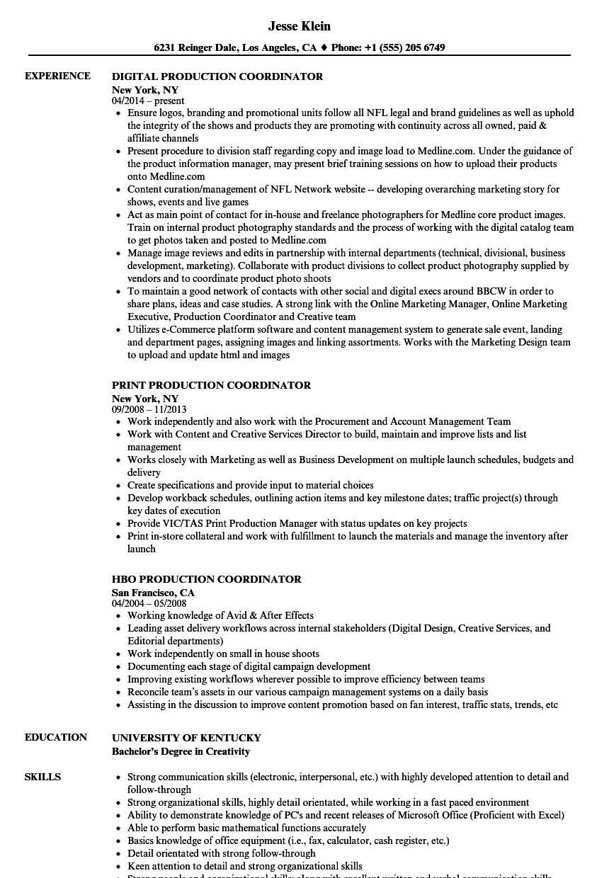 Amazing Download Coordinator, Production Coordinator Resume Sample As Image File Intended For Production Coordinator Resume