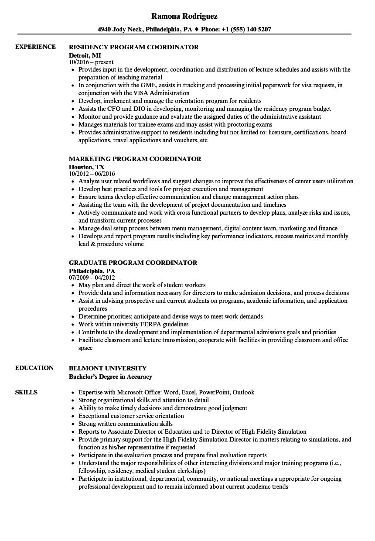 Coordinator, Program Resume Samples | Velvet Jobs