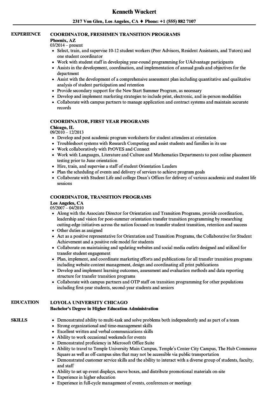 coordinator  programs resume samples