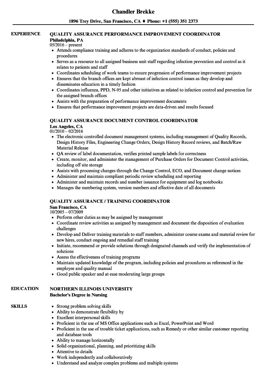 Coordinator Quality Assurance Resume Samples | Velvet Jobs