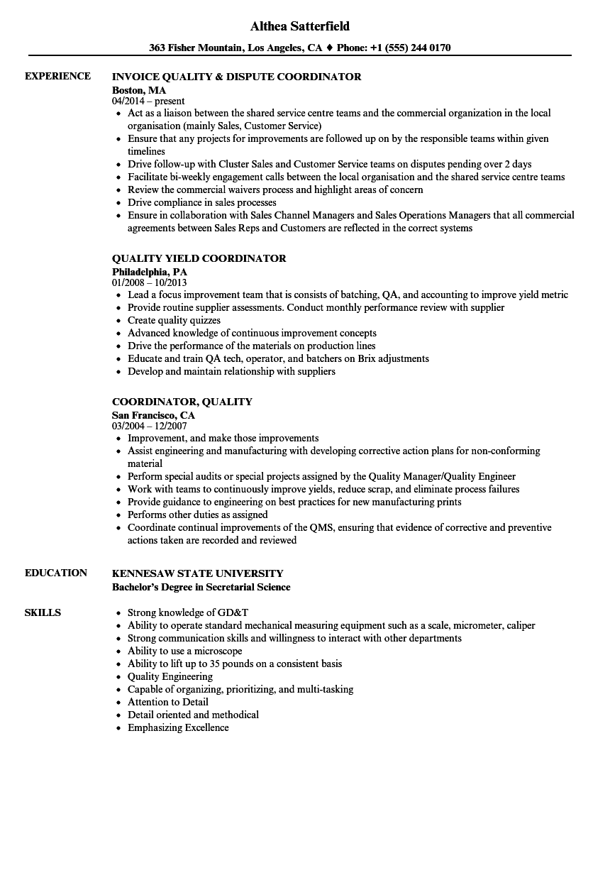 Coordinator, Quality Resume Samples | Velvet Jobs