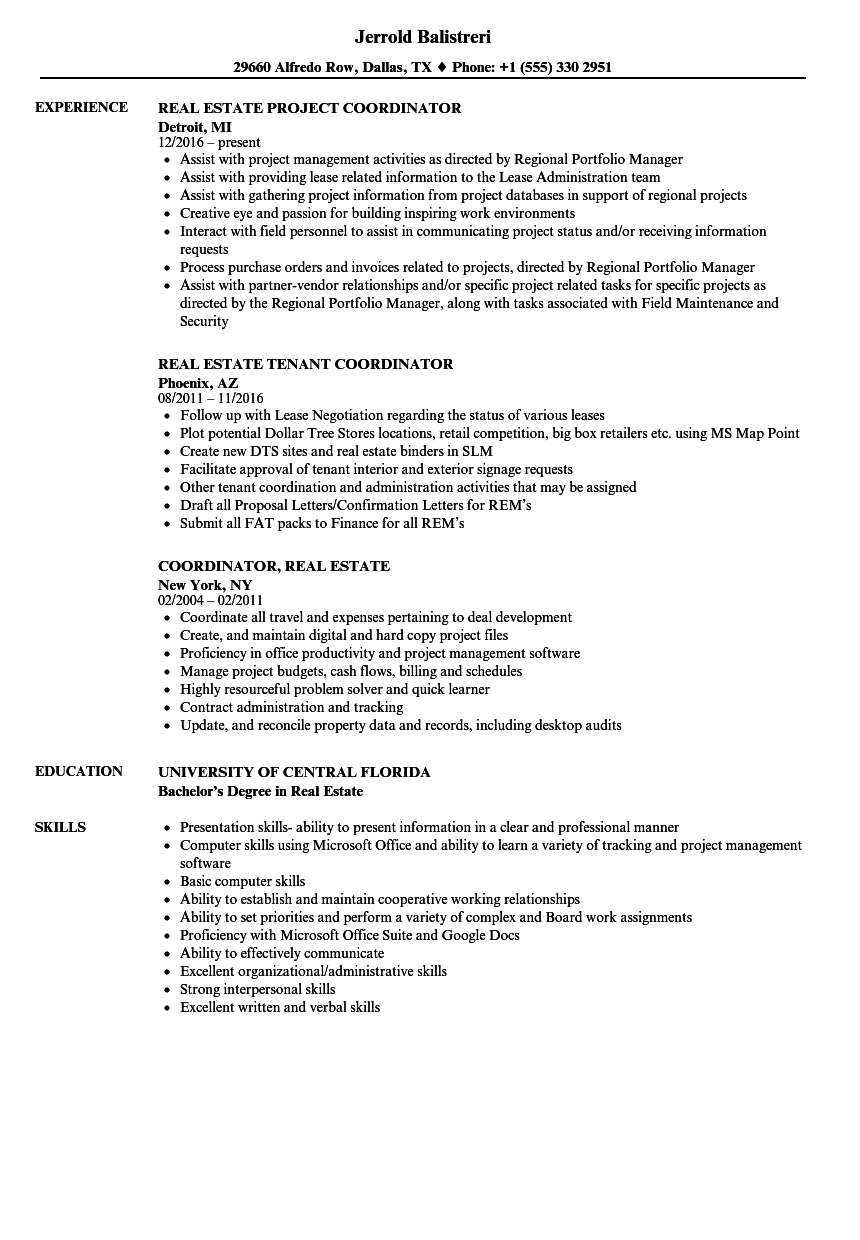 coordinator  real estate resume samples