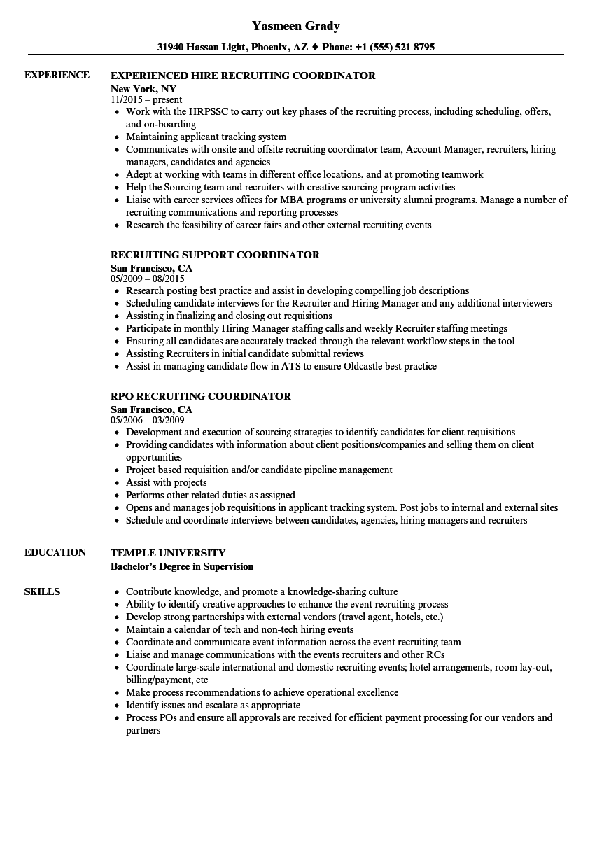 download coordinator recruiting resume sample as image file - Recruiting Resume Sample