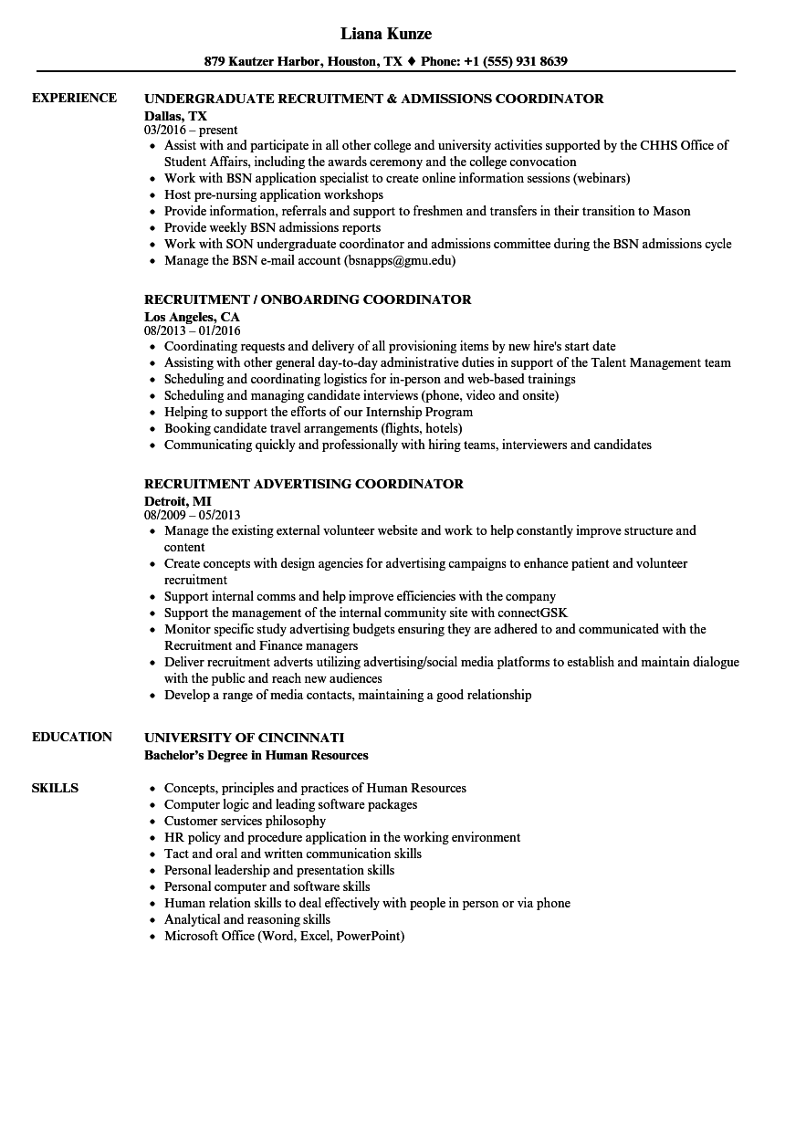 Coordinator Recruitment Resume Samples Velvet Jobs