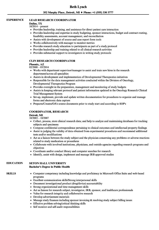 coordinator research resume samples  velvet jobs