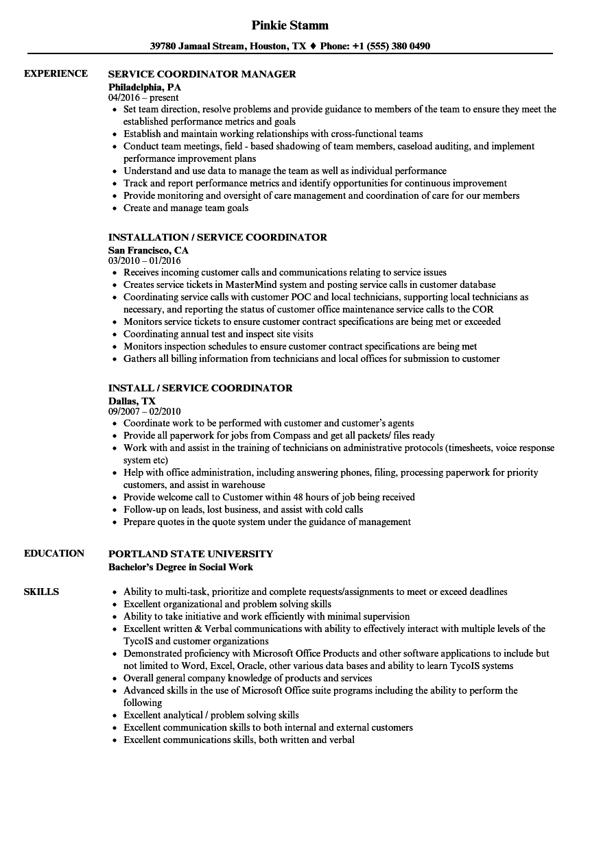 coordinator  service resume samples