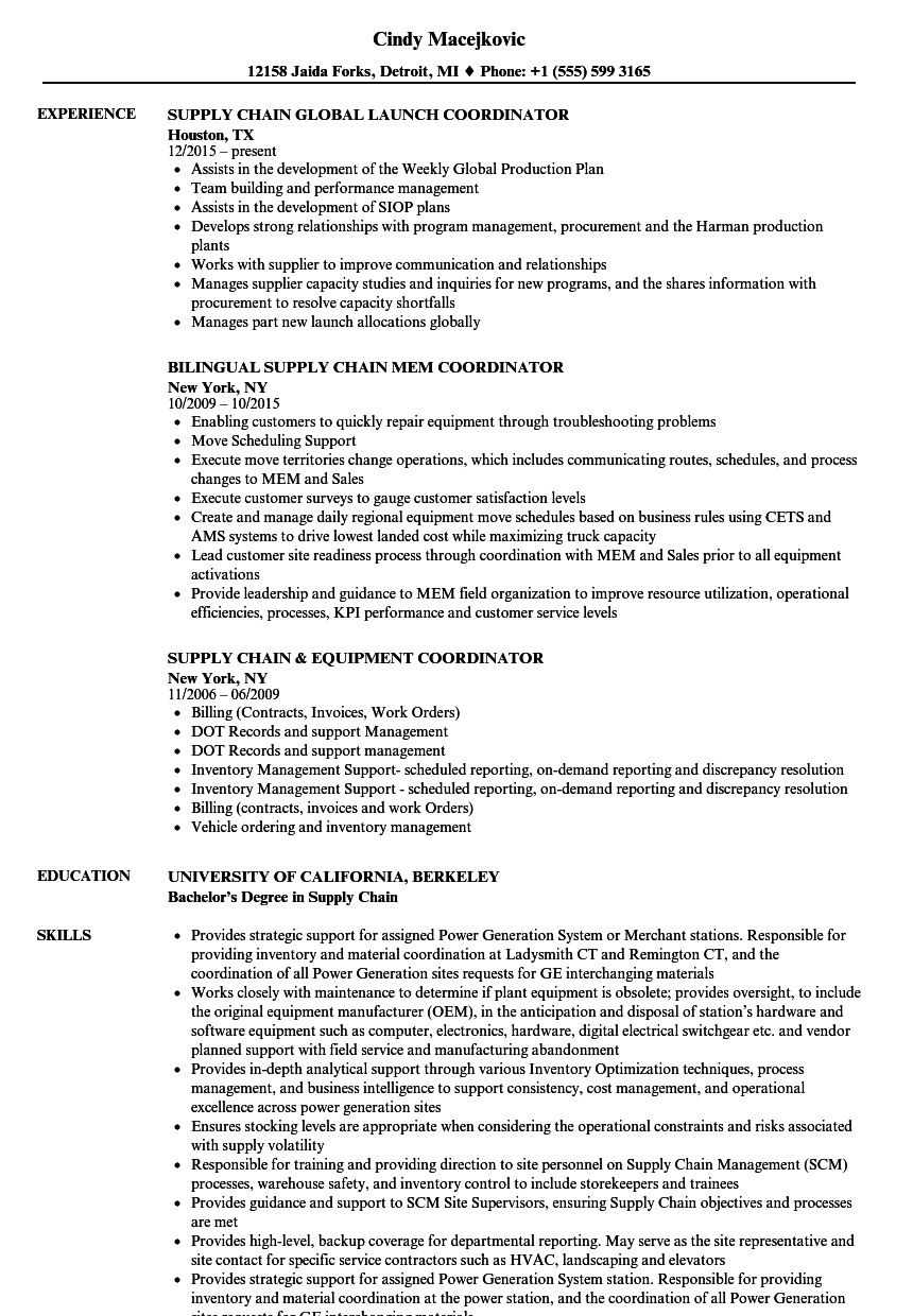 coordinator supply chain resume samples