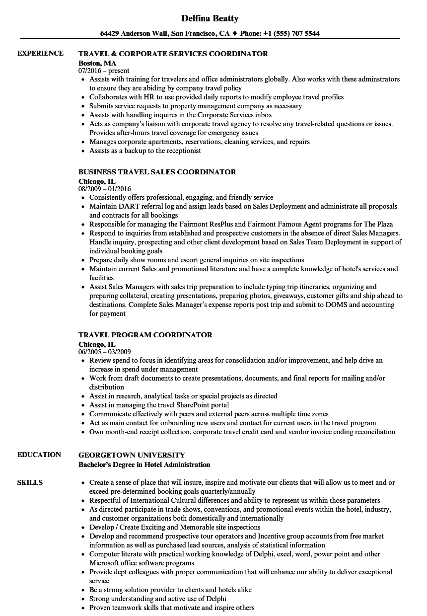 Coordinator Travel Resume Samples Velvet Jobs