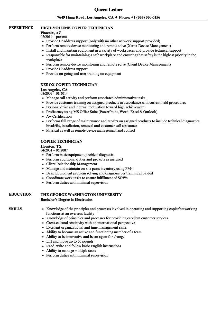 copier technician resume samples velvet jobs