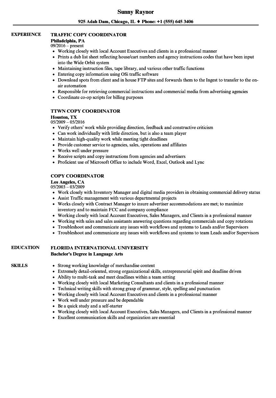 Copy Coordinator Resume Samples | Velvet Jobs