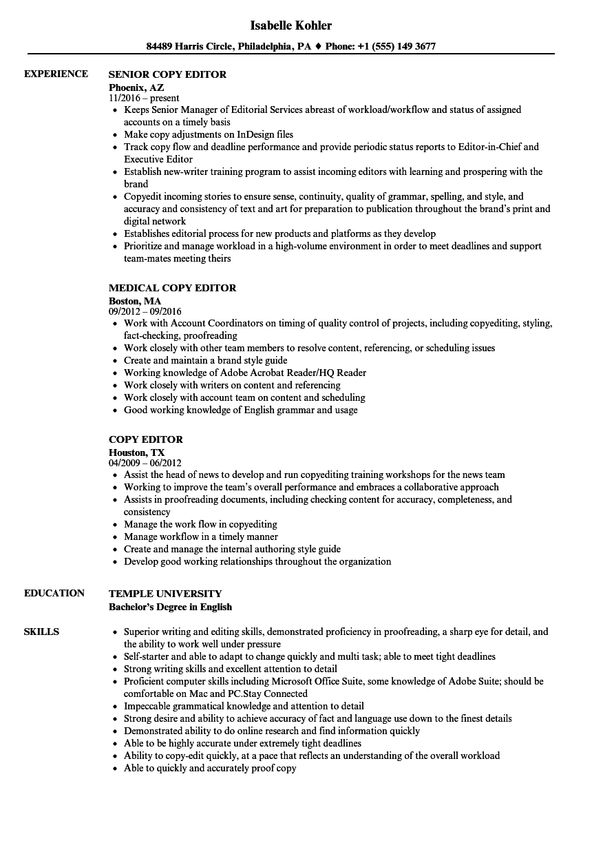 Copy Editor Resume Samples | Velvet Jobs