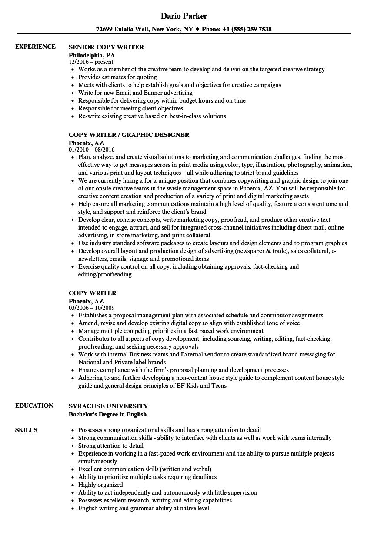 copy writer resume samples  velvet jobs