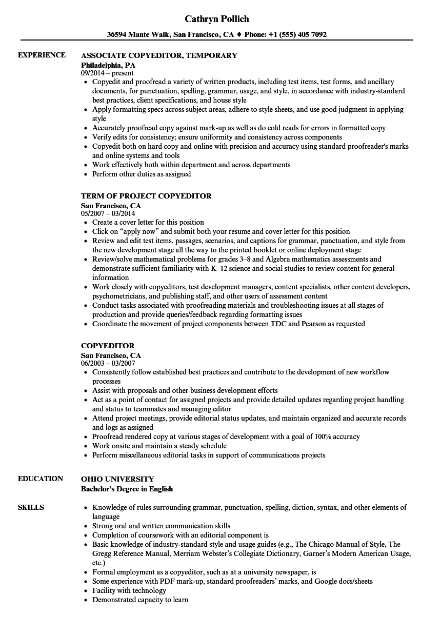 Copyeditor Resume Samples | Velvet Jobs