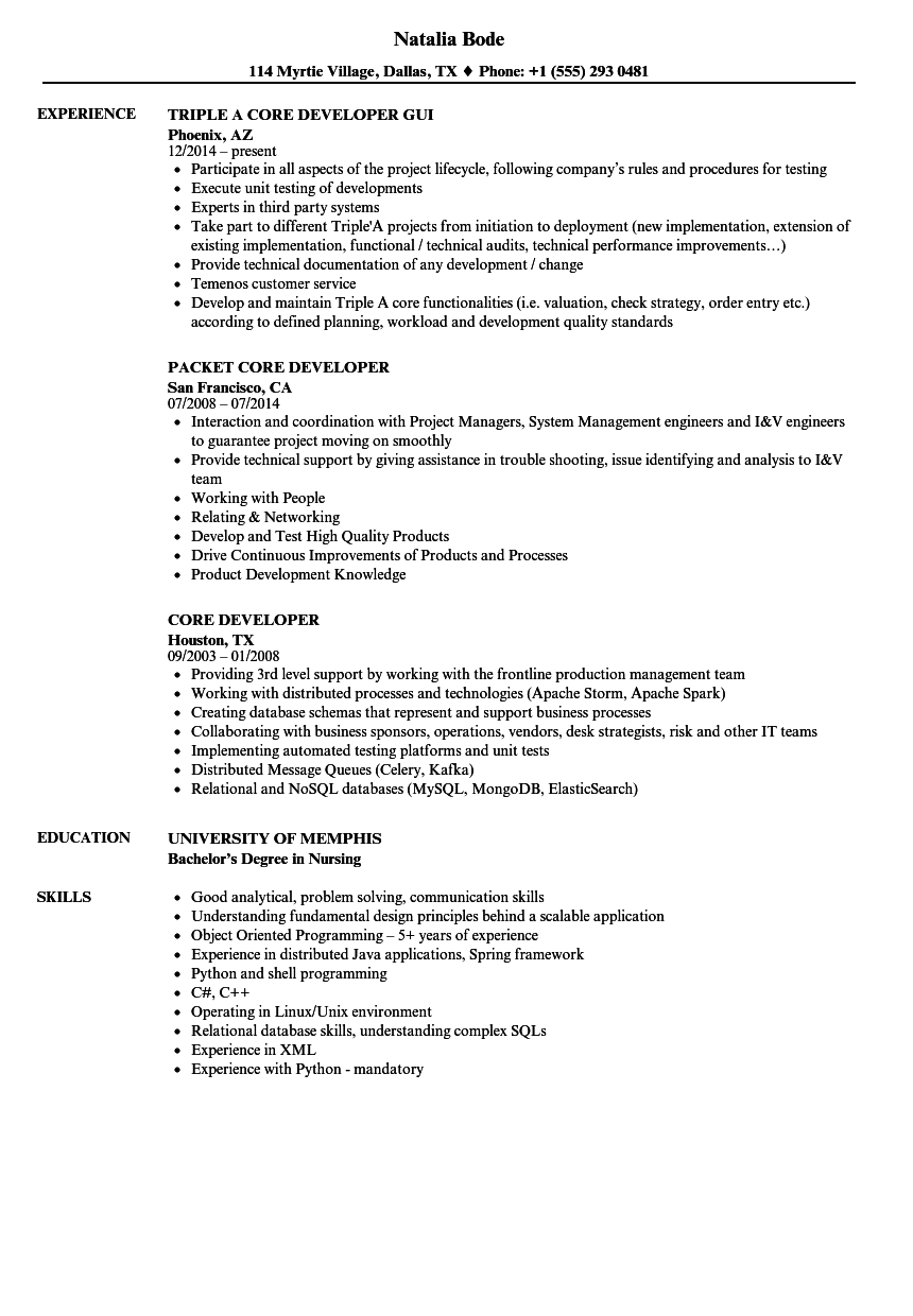 Core Developer Resume Samples | Velvet Jobs