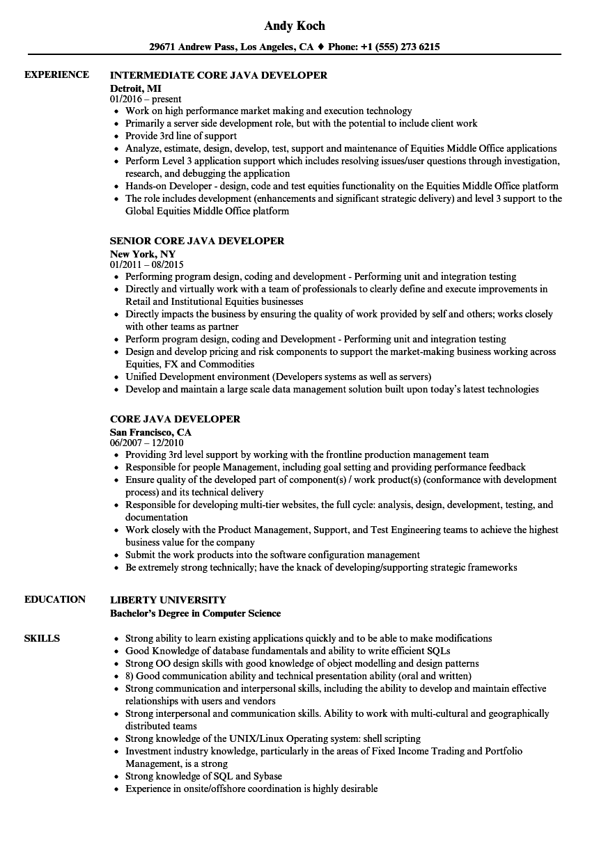 core java developer resume samples velvet jobs