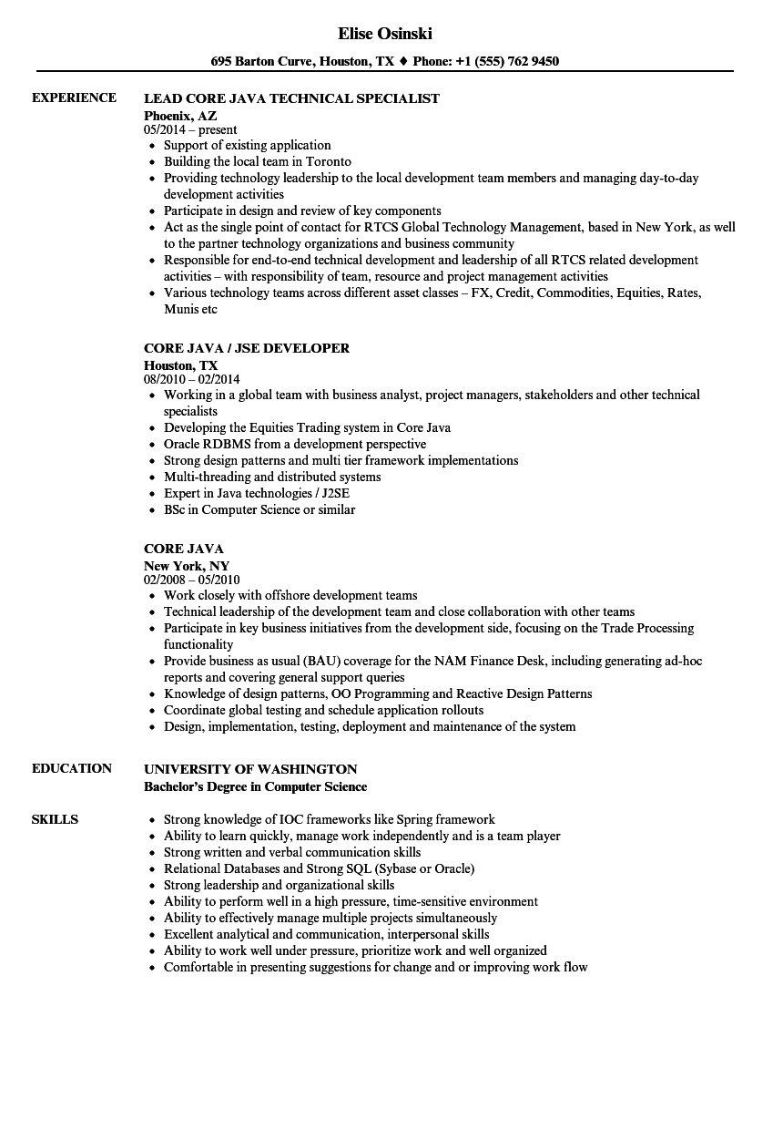 Core Java Resume Samples Velvet Jobs