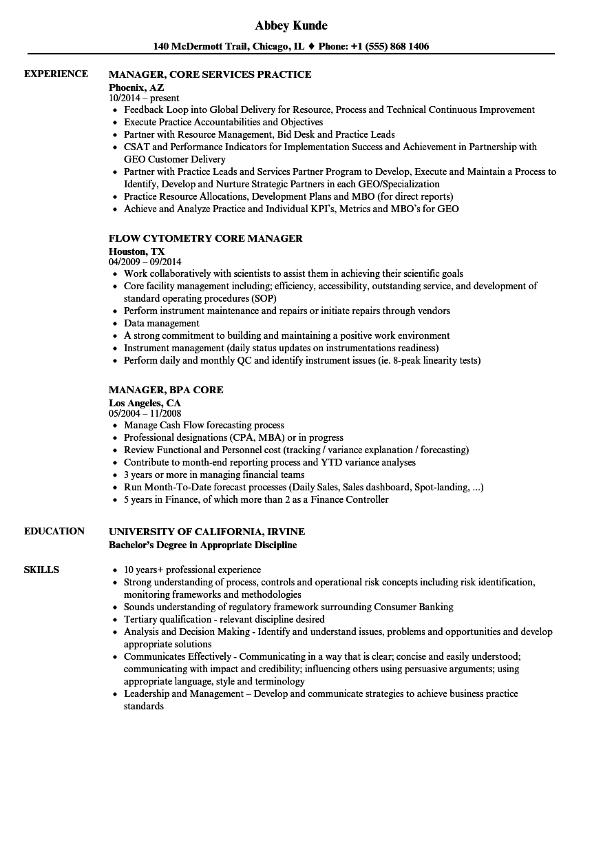 core manager resume samples