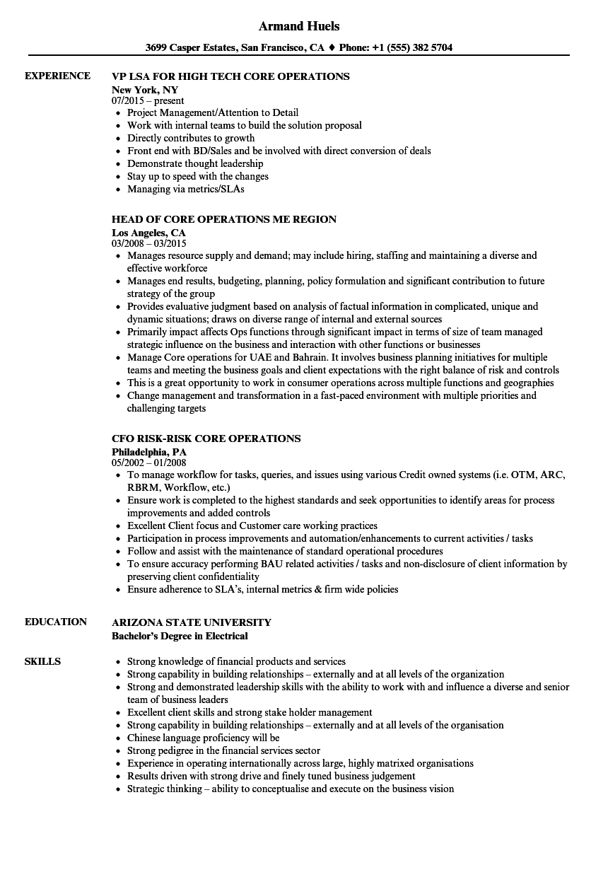 Core Operations Resume Samples | Velvet Jobs