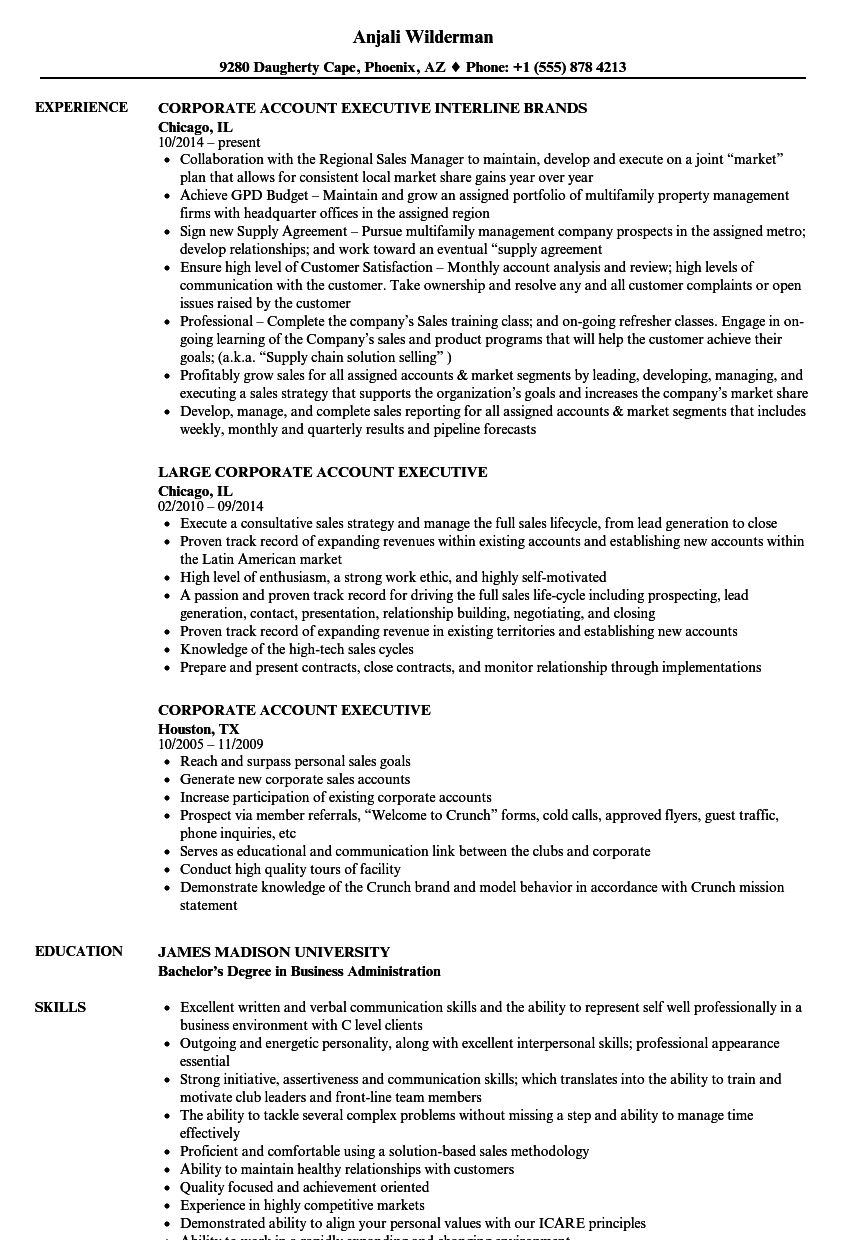 Corporate Account Executive Resume Samples Velvet Jobs