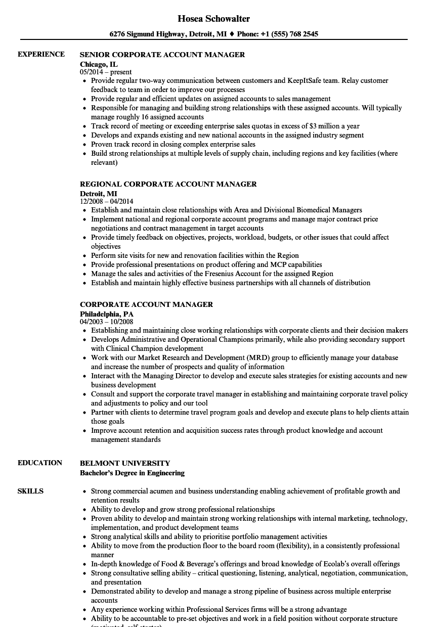 Corporate Account Manager Resume Samples Velvet Jobs