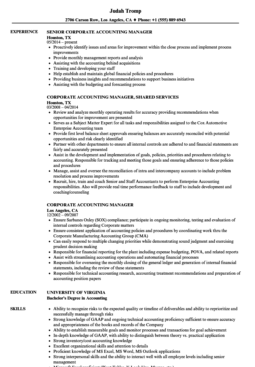 download corporate accounting manager resume sample as image file