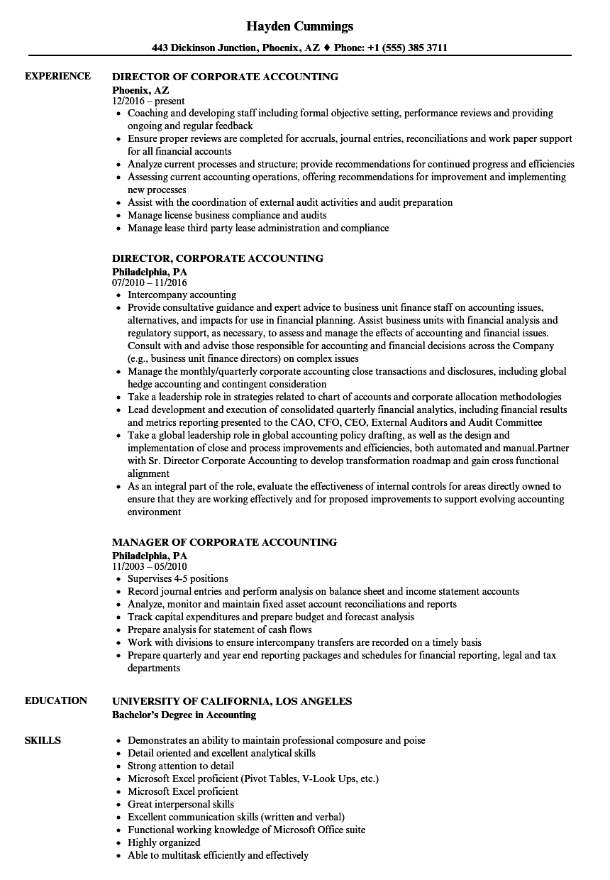 Corporate Accounting Resume Samples | Velvet Jobs