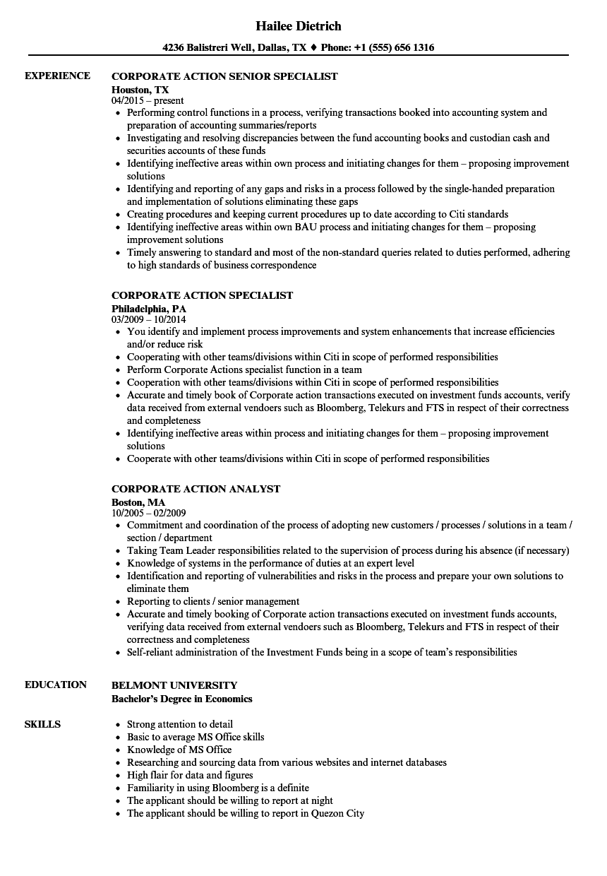 download corporate action resume sample as image file