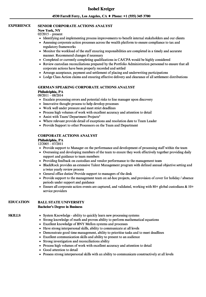 corporate actions analyst resume samples