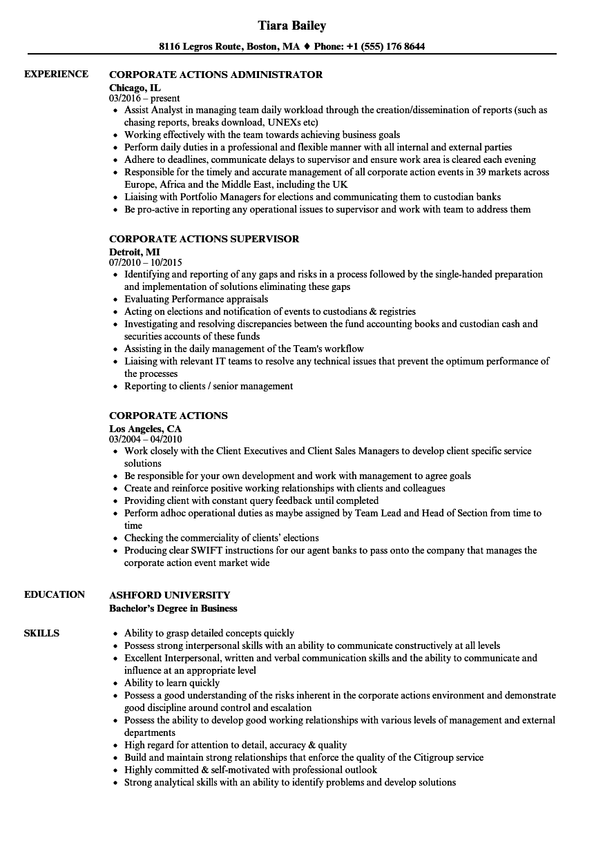 corporate actions resume samples