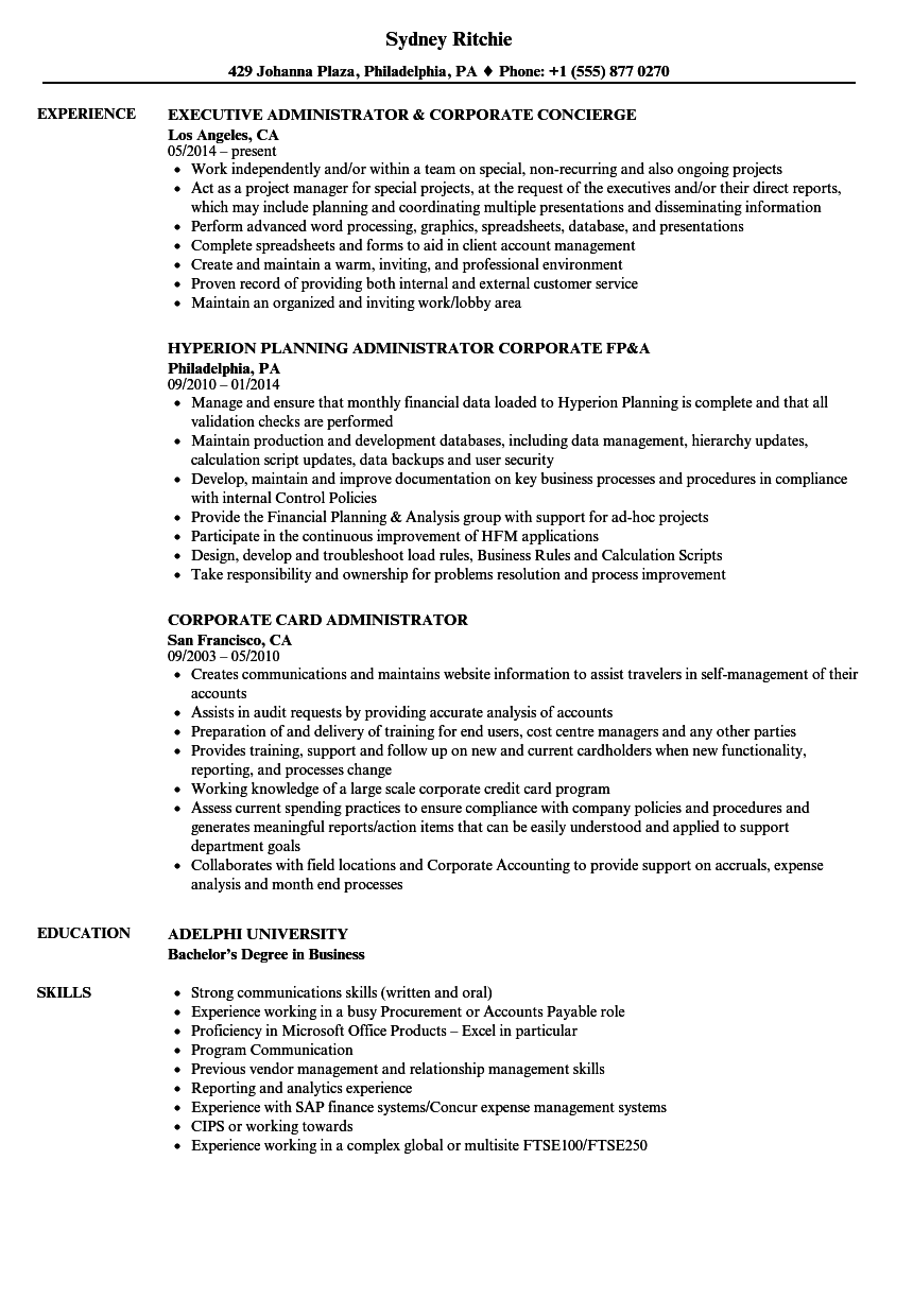 Corporate Administrator Resume Samples Velvet Jobs